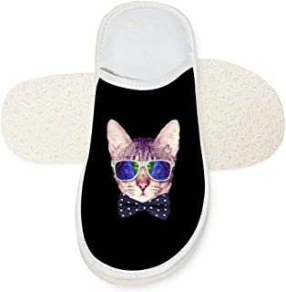 House Slippers Cat With Glasses Unisex Autumn Winter Warm Indoor Slip Shoes