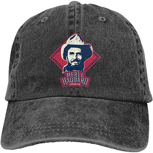 NJAAN Men&Womens Classic Merle Haggard Adjustable Denim Trucker Hat Unisex,Black,One Size