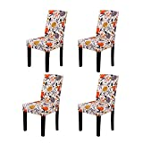 YEESSION Stretch Spandex Dining Chair Slipcovers Removable Washable Dining Room Chair Protector Cover Seat Slipcover Set of 4 (Style 05)