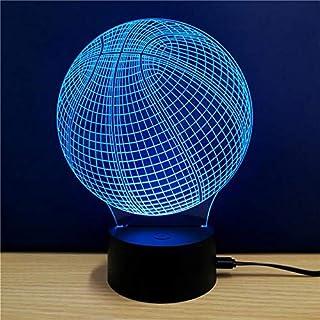 Luz nocturna 3D ilusión lámpara LED luces baloncesto 7 colores decoraciones regalos de cumpleaños para niños 3D luces de ilusión óptica