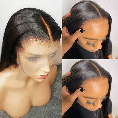 Transparent Lace Straight 13x4 Lace Front Wigs Human Hair Invisible Brazilian Remy Hair Wigs Bleached Knots Pre Plucked With Baby Hairs (16inches)
