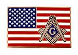 American Flag Masonic Logo Enamel Lapel Tie Pin Freemason Emblem Square Compass