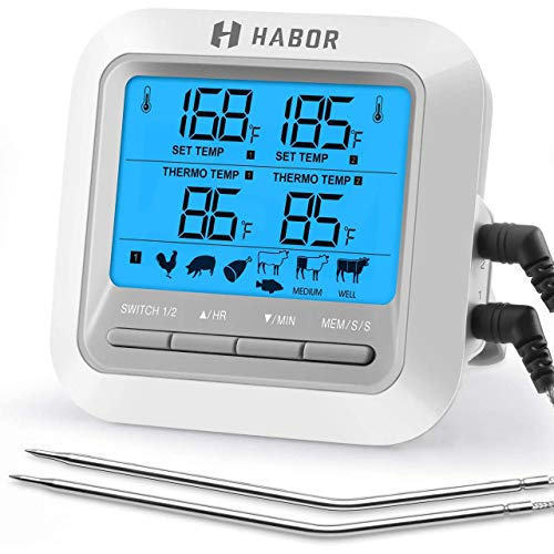 Habor TOPELEK Digitales Grillthermometer Bratenthermometer mit Timer, 2 Stahlsonden, Hinterbeleuchtung Fleischthermometer Ofenthermometer Temperatur Voreinstellen, Küchenwecker, Sofortiges Auslesen
