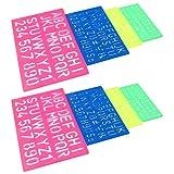 Stencil per Lettere e Numeri in Plastica Lettere Stencil a Righello Stencil in Plastica con Lettere Dell'alfabeto Numeri Modello di Disegno in Plastica per Studenti DIY 4 Size 8 Pezzi Colore Casuale