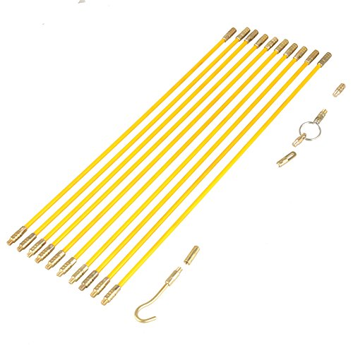 Fiberglass Wire Running Kit,Fiberglass Cable Puller Running Cable Wire Kit Electrical Cable Installing Rod mit Zubehör ,Starke Isolationsleistung,4mm,10 Stücke