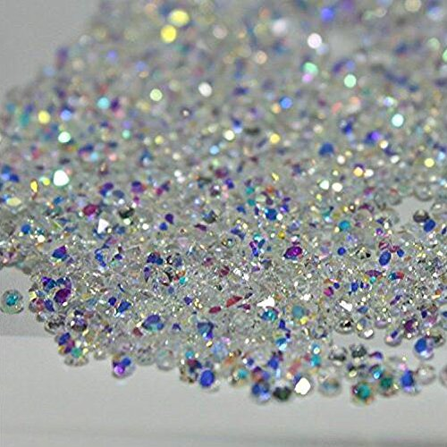 MOPRETTY 1440Pcs Mini Diamond Shining DIY Rhinestones Iridescent Crystals Need Glue Phone & Nail Art Decoration (AB Clear)