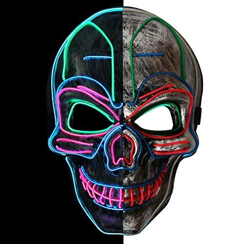 Thiroom Maschere Halloween LED,3 modalità Flash Illuminano per Grande Festival Cosplay Costume Supplies Festa Christmas Party Si Illuminano al Buio (Cranio)