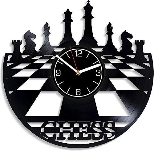 TIANZly Ajedrez Disco de Vinilo Reloj de Pared Mural de ajedrez ajedrez decoración del hogar 12 Pulgadas Vinilo ajedrez IR ajedrez