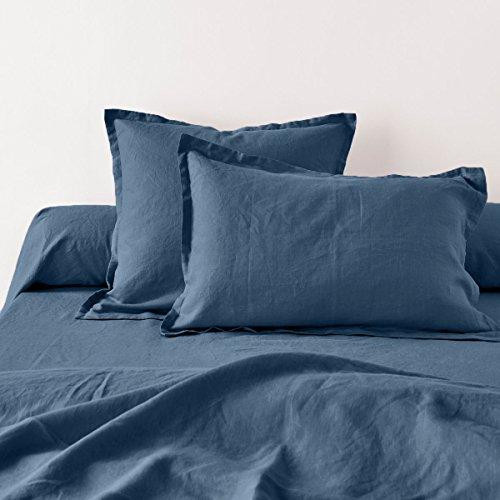 Home Inspiration Taie d'oreiller avec Volant Lin, Coton, Petrol, 65x65 cm