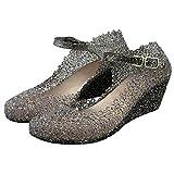 Paul Kevin Women's Jelly Wedge Crystal Sandals High Heels Glass Slipper Shoe Black 6 Women