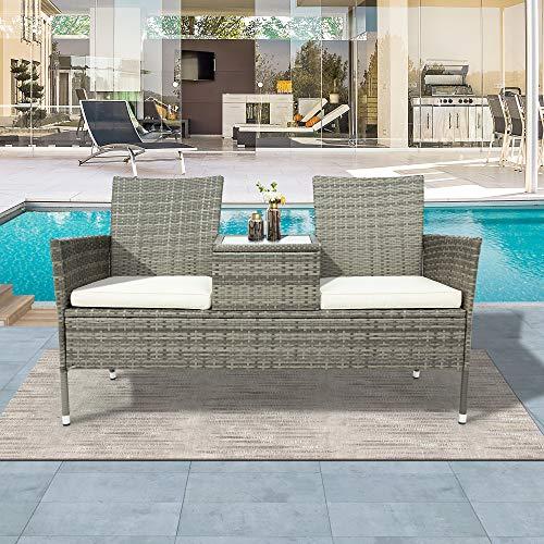 MINMIN Banco de jardín de polirratán, mesa incluida, muebles de balcón, juego para 2 personas, conjunto de muebles de jardín, conjunto de muebles de jardín, cómodo para balcón o terraza