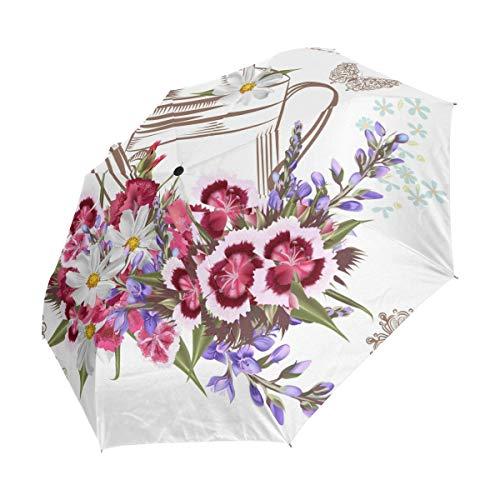 Emoya Paraguas de 8 Varillas de Apertura y Cierre automático, Resistente al Viento, Paraguas de Lluvia, Hermoso jardín de Flores y Mariposas, regadera, Impermeable, Paraguas de Viaje portátil