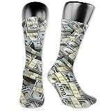 Regalos de Año Nuevo de moda Calcetines de tripulación con signo de dólar americano a media pierna Calcetines atléticos por debajo de la rodilla transpirables para senderismo Trekking al aire libre