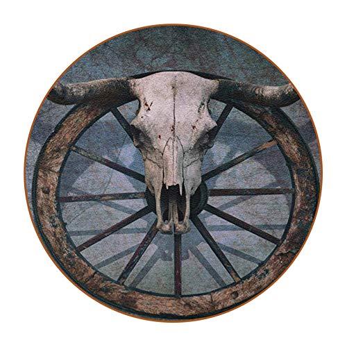 Bennigiry Wild West With Bull Skull On Cart - Posavasos de piel para pared rayada (6 unidades)