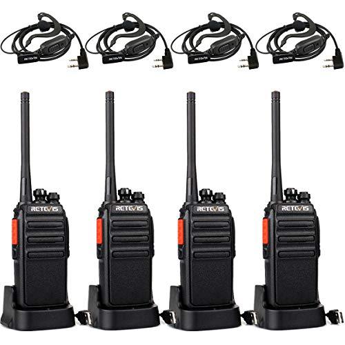 Retevis RT24V Freenet Funkgeräte 6 Kanäle, Walkie Talkie Lizenzfrei, Funkgerät mit Headset und USB Ladeschale, Walkie Talkie Aufladbar (4 Stück, Schwarz)