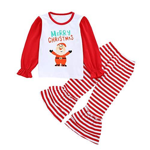 WAOTIER Conjunto de ropa para bebé de 6 meses a 5 años con camiseta y pantalones de Papá Noel, con rayas rojas y volantes rojo 100 cm