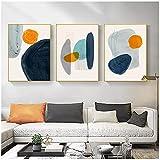 Carteles de Lona 50x70cm 3 Piezas SIN Marco Pintura Abstracta en Lienzo Piedra Cuadros de Pared Modernos Arte GeometríaCartelespara Sala de Estar Dormitorio Decorativo para el hogar