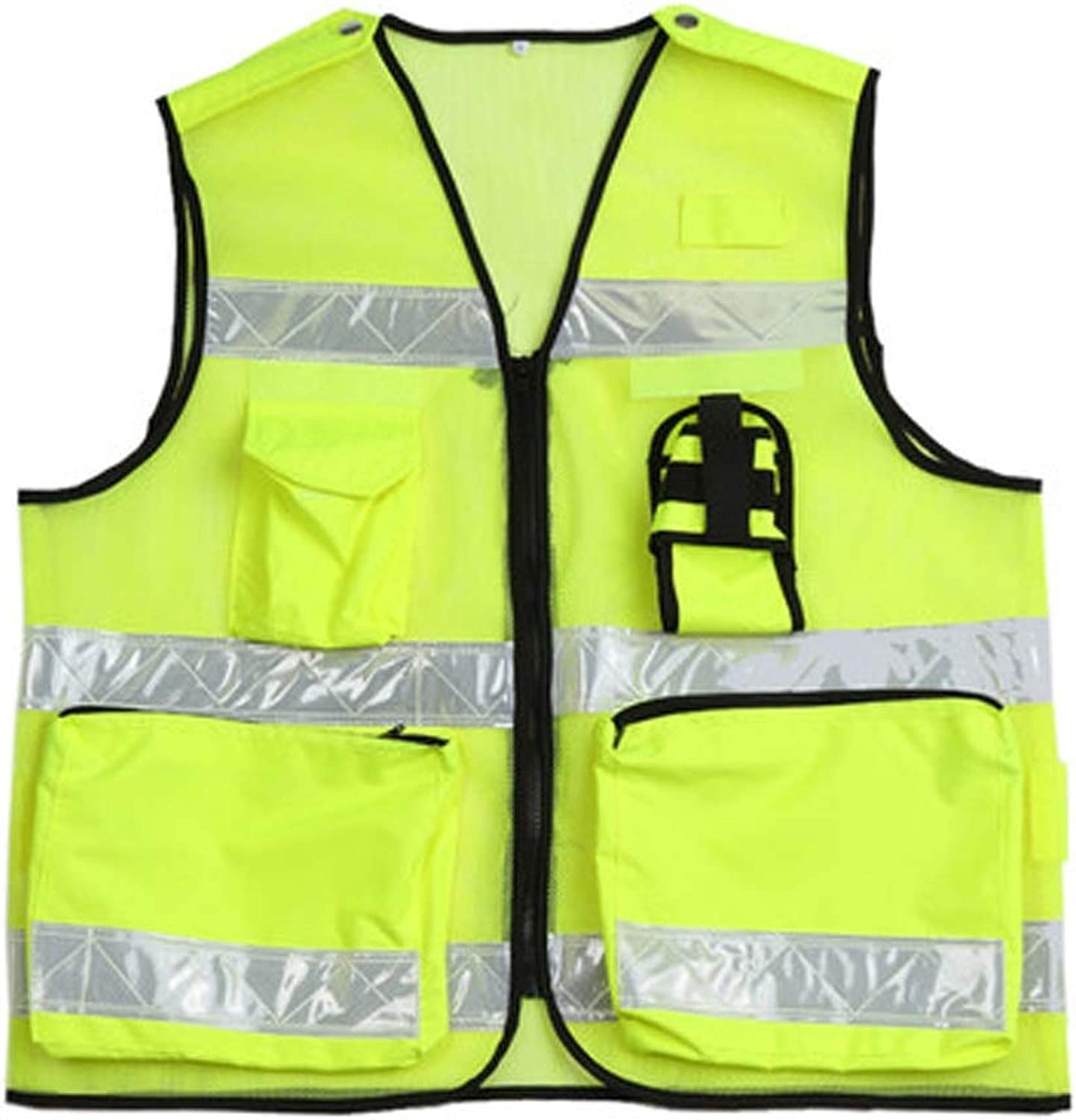 RMJAI Vests Yellow Reflective Safety Vest with Pockets, Bright Construction Vest with Reflective Strips,Made from Breathable and Neon Yellow Mesh Fabric,High Visibility Vest Reflective Vests