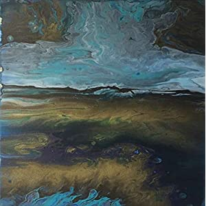Acryl Pouring I 50 x 50 x 3,5 cm I original handgemaltes Einzelstück I Leinwand auf Keilrahmen I blau schwarz gold…