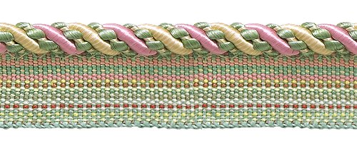 DÉCOPRO 9.1 Meter Value Pack of Medium Dusty Rose, Pastel Green, Lt Gold 6mm Imperial II Lip Cord Style# 0416I2 Color: Rose Garden - 3549 (30 Ft / 10 Yards)