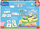 Educa- Superpack Peppa Pig Pack de Domino, Identic y 2 Puzzles, Juego de Mesa, Multicolor (16229)