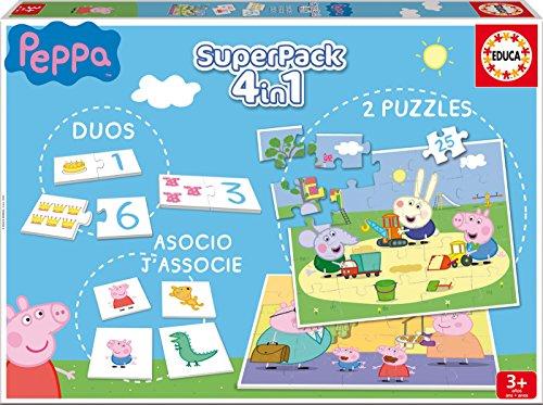 Educa - Superpack Peppa Pig Pack de Domino, Identic y 2 Puzzles, Juego de Mesa, Multicolor (16229)