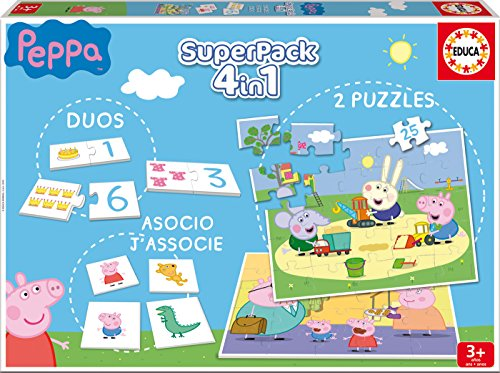 Educa - Superpack Peppa Pig Pack de Domino, Identic y 2 Puzzles, Juego de Mesa, Multicolor (16229)