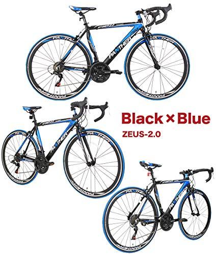 PANTHER(パンサー)ロードバイク5色/3サイズ可選シマノ21段変速超軽量異型アルミフレーム700C×25C適応身長160cm以上前後ホイールクイックリリース搭載ドロップハンドルコスパ最強モデル通勤通学新生活入学就職お祝いにメーカー保証1年(Blackブラック/Blueブルー,520mm(XL))