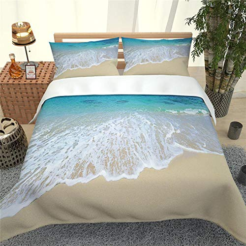 CHNXXL Duvet Cover Set Large 200X200Cm 3 Piece Bedding Set Bed Cover And 2 Pillowcases Soft Microfibre Polyester Fabric Bedding Set For Kids Teen Adult, Sea Beach
