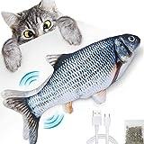 ●【De meilleurs soins pour les animaux de compagnie】 Ce jouet en forme de poisson-chat (environ 30 cm de long), rempli d'herbe à chat, au parfum aromatique qui se balance ou se remue (activé au toucher, trois façons de toucher) attire l'attention du c...