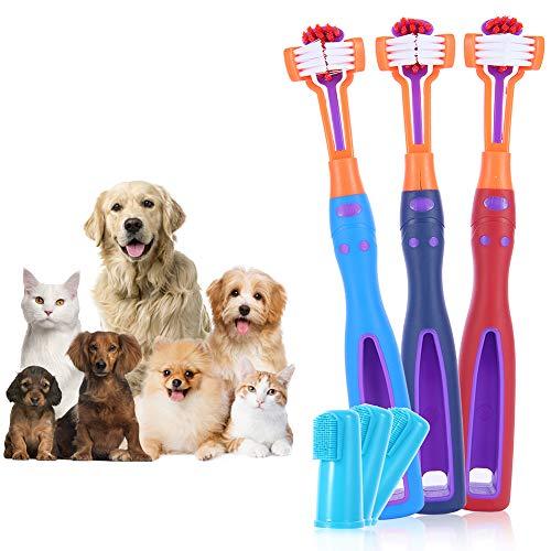 HJK 3Piezas Cepillo de Dientes con Dedos para Mascotas, Cepillo de Dientes de Tres Cabezas, para Mascotas para Perros y Gatos Limpieza y Cuidado de Dientes