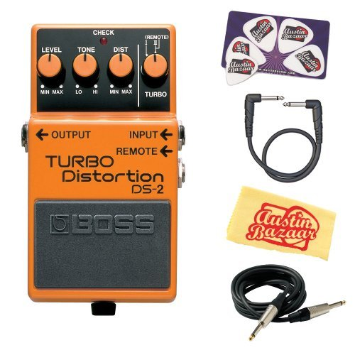 Boss DS-2 Turbo Distortion Bundle with Instrument Cable, Patch Cable, Picks, and Austin Bazaar Polishing Cloth