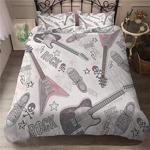 HGFHGD Weißes Gitarren-Musikserie, 3D-Doppelbett-Zubehör-Set für Jungen und Mädchen, großes King-Size-Größe, schwarzer Bettbezug und Kissenbezug, dreiteiliges Set