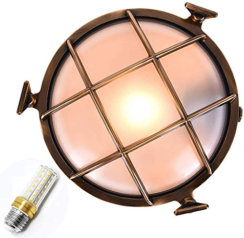 Rustieke plafondlamp buitenlamp, messing ronde scheepslamp schip plafondlamp, E27 voor tuin erf buitenverlichting plafondlamp verlichting, vochtbestendig explosieveilig ronde scheepslamp