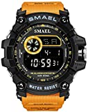 Mens Digital Sports Watches Multifunctional Large Military 50M Waterproof LED Alarm Backlight Watch (Orange)