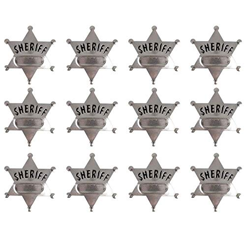 Kicko Metal Deputy Sheriff Badge - Pack of 12 Personalized Officer Name Tag Brooch for Kids - for Law Enforcement Officer Costume, Cowboy Western Parties, Stage Plays and Unique Party Bag Fillers