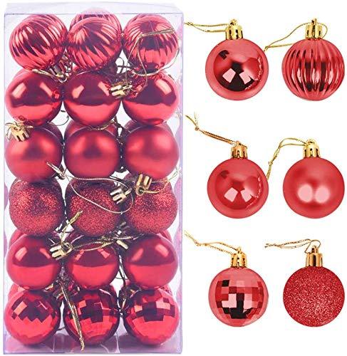 Palle di Natale 4cm, ZoneYan Palline Dell'Albero di Natale, Addobbi Natalizi Palline per Albero, Set Palla di Natale, Albero di Natale Palla Decorazioni con Albero Natale Scintillante—36 Pezzi (rosso)