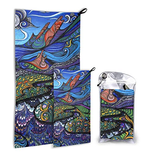 Lawenp Multicolor Psychedelic Fish Tree Juego de Toallas de Viaje Paquete de Toallas de Microfibra de Secado rápido para Acampar, Senderismo Backp