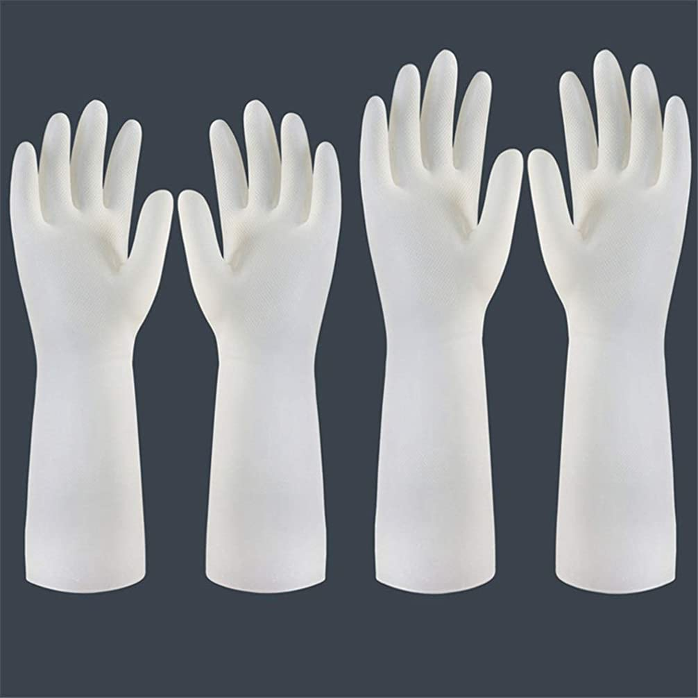 夢中エンドテーブル蓮ニトリルゴム手袋 使い捨て手袋の防水および耐久のゴム製台所手袋、小/中/大 使い捨て手袋 (Color : Short+long, Size : M)