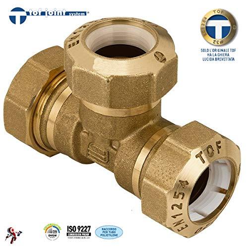 Conector en T de latón para tubo de polietileno negro 63 x 63 x 63, empalmes para mangueras de agua de jardín y agricultura, Effebi Tof/T