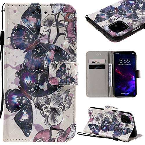 MOLIBAIHUO For IPhone 11 Case, 3D Painted Pattern Horizontal Flip Leather Case for IPhone 11, With Wallet & Holder & Card Slots & Lanyard PHONE CASE (Pattern : Black butterfly)