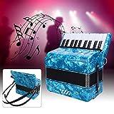 Acordeón de 22 teclas, este acordeón clásico tiene un color brillante y un exterior nacarado que es muy delicado. Acordeón de teclado con un paño de limpieza para tocar