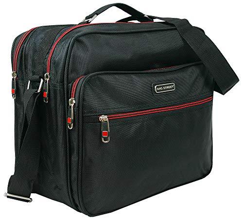 Robuste Arbeitstasche   Handtasche für Männer   Flugbegleiter   Herrentasche   Umhängetasche   Schwarz (Querformat)   Nylon