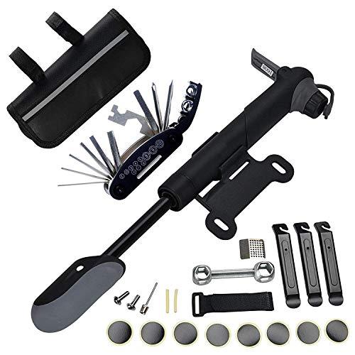 Juego de herramientas de reparación de bicicletas Bolsa de herramientas de bicicleta A35 con bomba de bicicletas de 120 psi, multitool, palanca de neumáticos y ajuste de bicicleta autoadhesivo Mimitoo