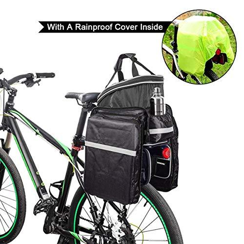 Fozela Fahrradtasche, Fahrrad Satteltasche Gepäcktasche Gepäckträger Tasche Rucksack Seitentasche mit wasserfester, reflektierender und Regenschutzdeckel - 6