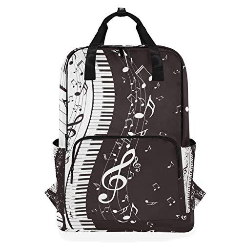 ALARGE - Mochila para ordenador portátil, diseño abstracto de notas musicales de...