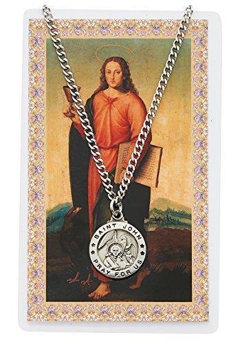 Round St. John the Evangelist Medal with Prayer Card