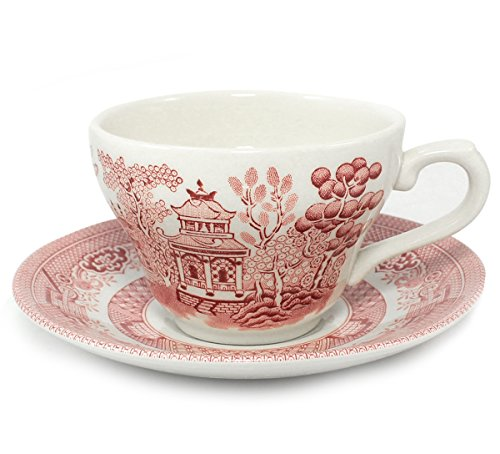 Churchill Pink Willow Cup & Saucer, Set of 4, Red Transferware