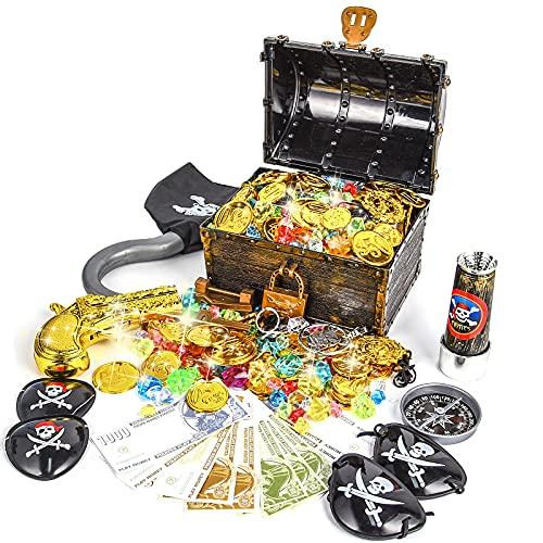Ulikey Piraten Schatzkiste Goldmünzen Edelstein Piratenschatz Set, Piraten Schatztruhe, Piratenschatzkiste für Schatzsuche, Piraten Party Favor, Kinderspielzeug Piratenparty Dekoration Mitgebsel