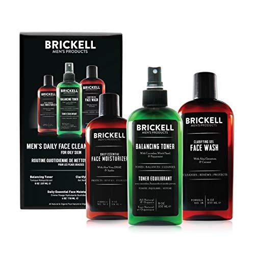 Rutina de limpieza diaria para hombres Brickell para pieles grasas, tóner sin alcohol, gel de lavado facial e hidratante, natural y orgánico, perfumado (Sin perfume)